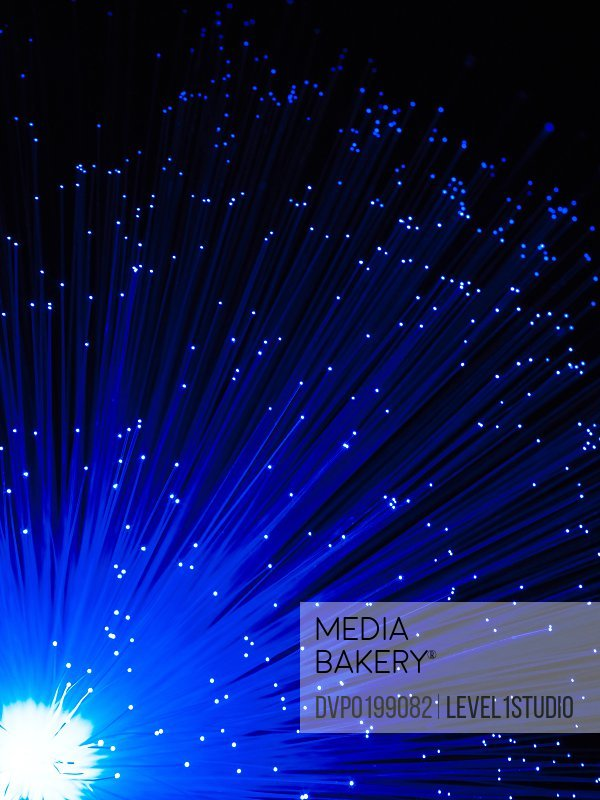 Fiber optics on black background