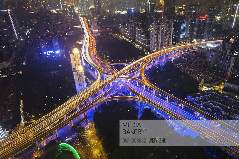 Elevated view of Shanghai highway at night.