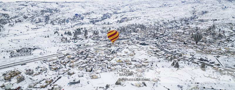 Colorful hot air balloons flying over Cappadocia