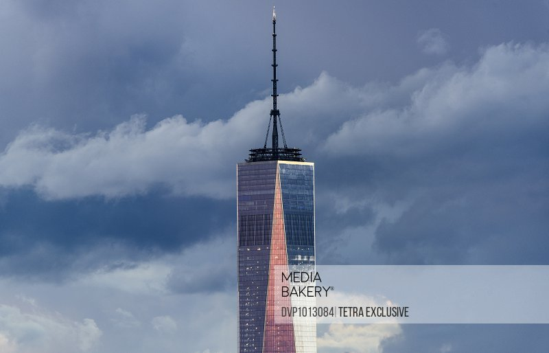 USA, New York State, New York City, One World Trade Center against clouds
