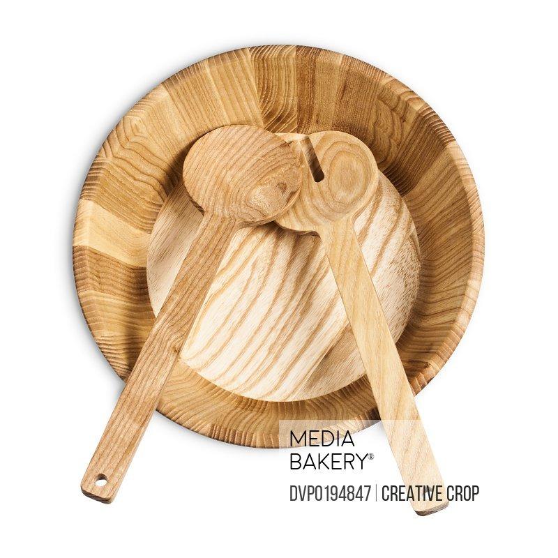 Empty wooden salad bowl