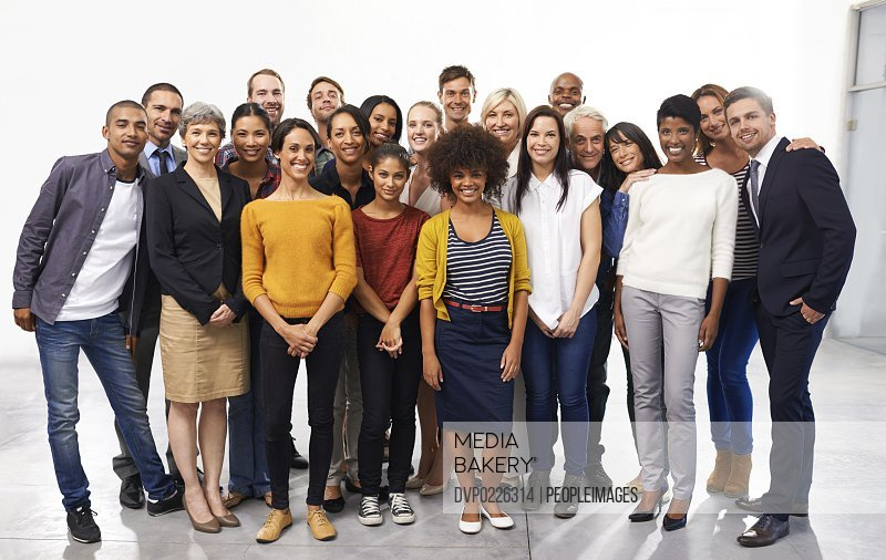 Full length portrait of a diverse group of business professionals