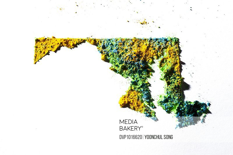 Map of Maryland, USA with colored powder