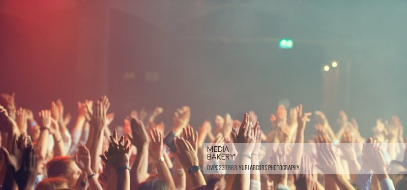 A crowd of people celebrating and partying with their hands in the air to an awesome band. This concert was created for the sole purpose of this photo shoot, featuring 300 models and 3 live bands. All people in this shoot are model released.