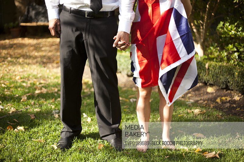 Couple holding hands with British flag