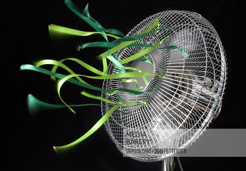 Green ribbons and electrical fan