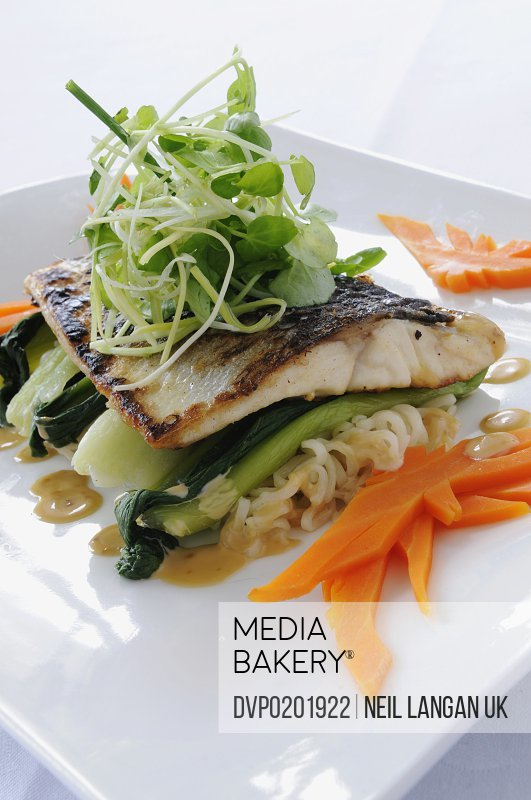 Chinese style fish with noodles and vegetables