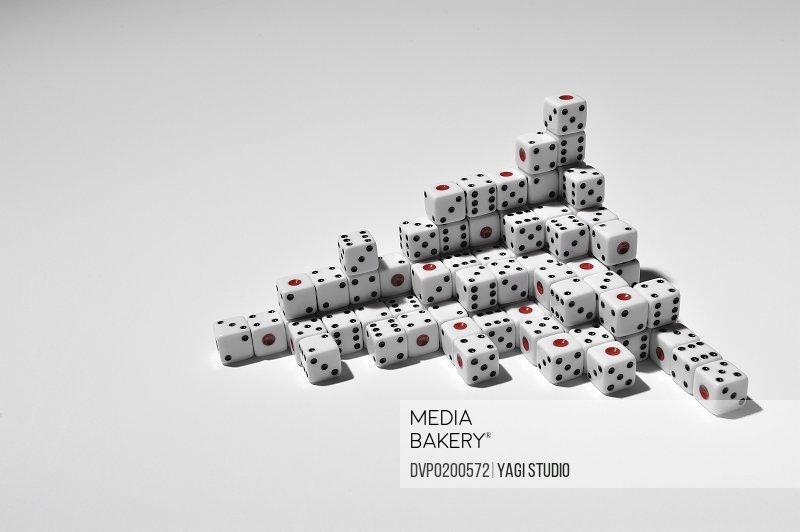 Many dice on white background