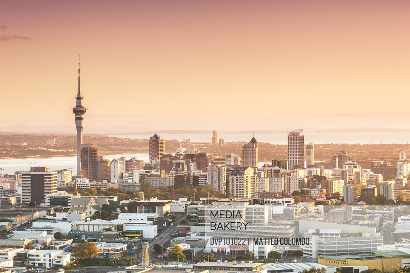 Elevated view of Auckland city and CBD at sunrise, North Island, New Zealand