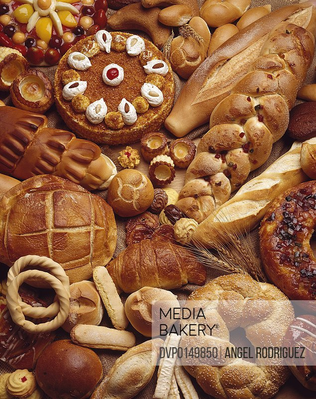 bread and bakeries composition high angle view