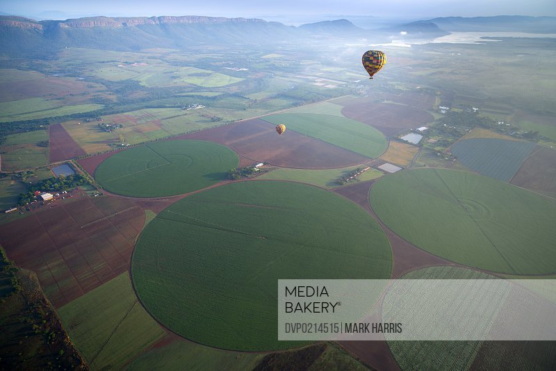 A hot air balloon ride over fields in South Africa