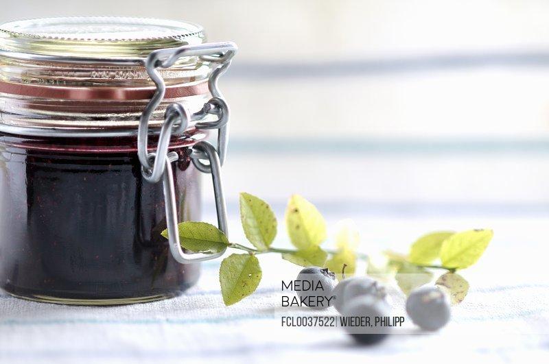 Blueberry jam in jam jar