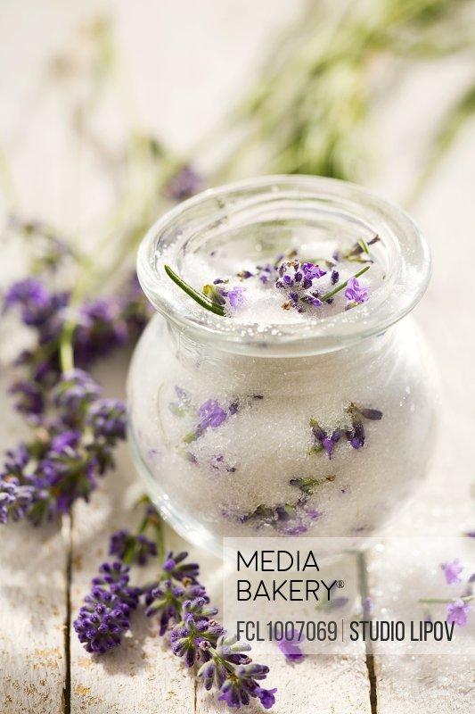 Lavender sugar in a jar