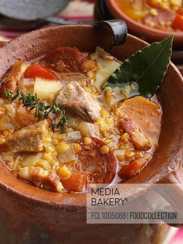 A rustin pot of lentil soup