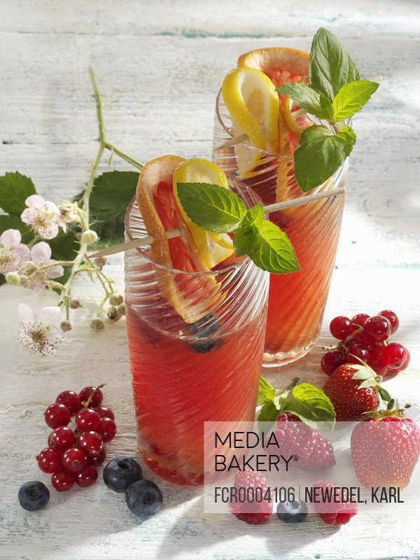Two non-alcoholic fruit cocktails