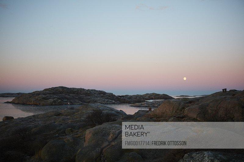 Sweden, West Coast, Lysekil, Scenic landscape at sunset
