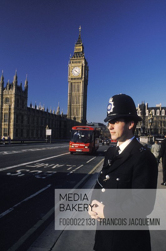 Big Ben and policeman, London, England