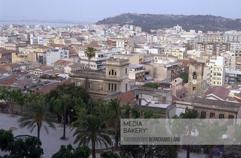 High angle view of cityscape, Cagliari, Sardinia, Italy