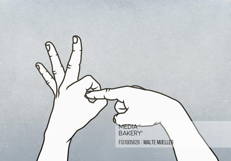 Hands making obscene penetration gesture