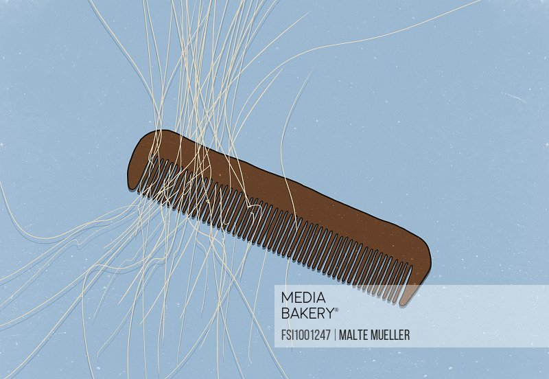 Illustration of comb with hair on blue background