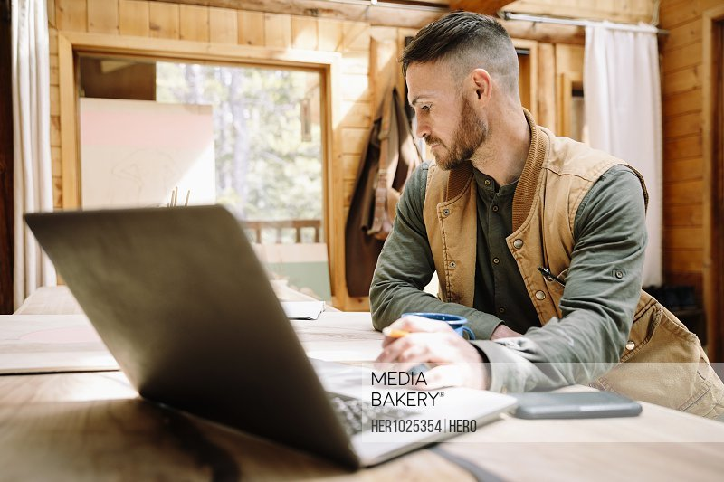 Man working at laptop at cabin table
