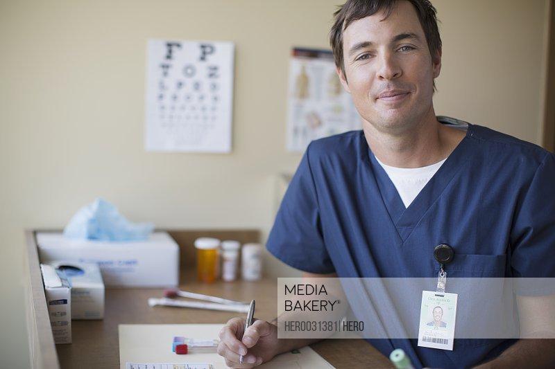 portrait of medical technician in scrubs