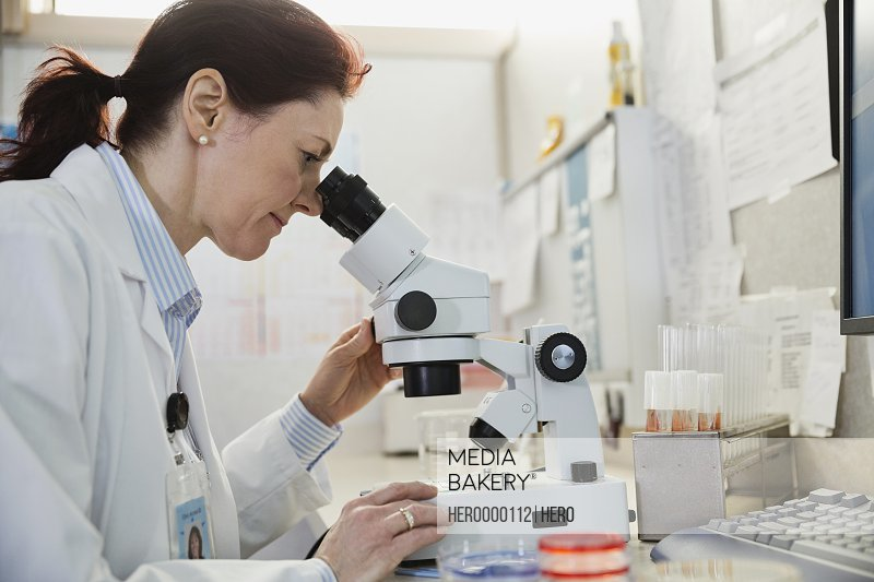 Side view of female doctor looking into microscope