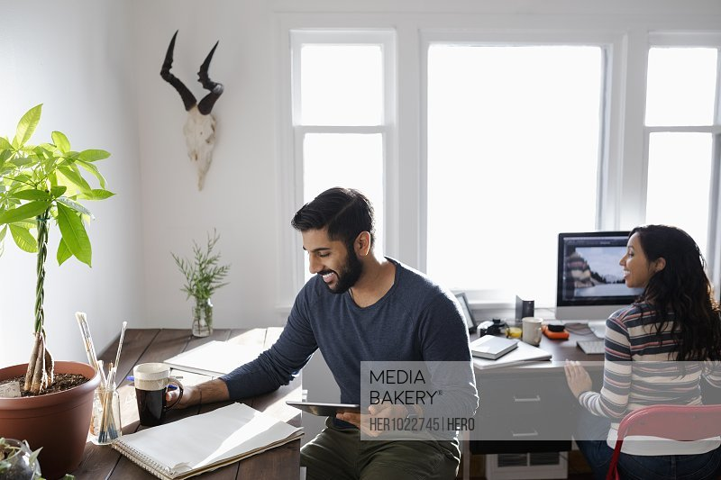 Creative business people working in home