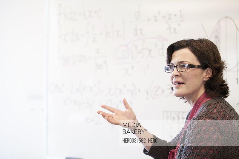 college instructor teaching mathematics