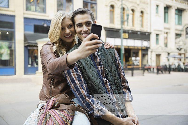Couple taking outdoor self portrait