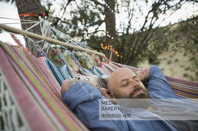 Serene man relaxing in hammock