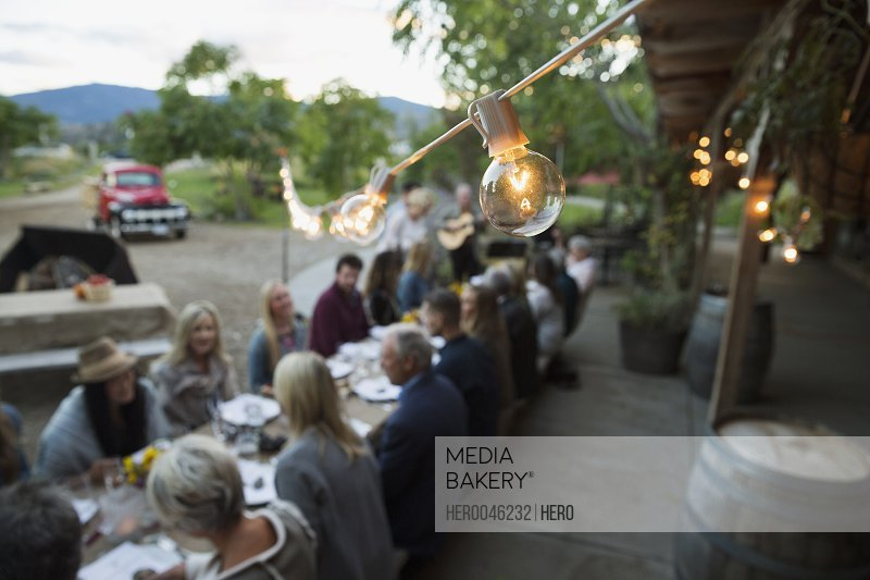 String light light bulb over harvest dinner party