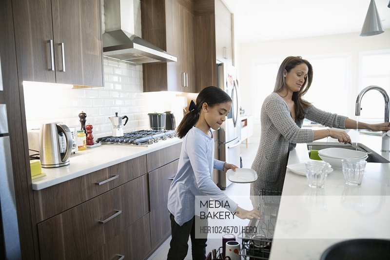 Mother and daughter doing dishes in kitchen