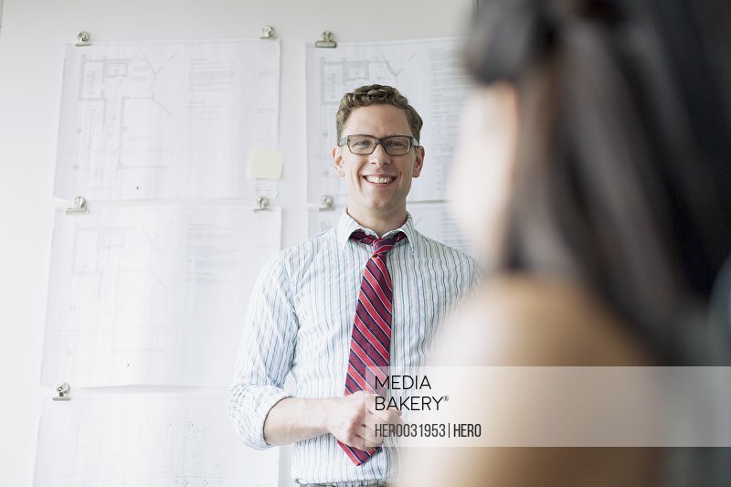 architect smiling during presentation
