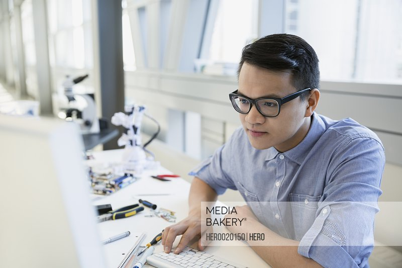 Engineer working at computer