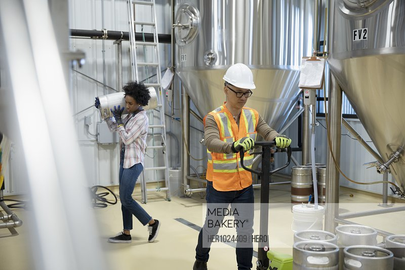 Brewers working in brewhouse distillery