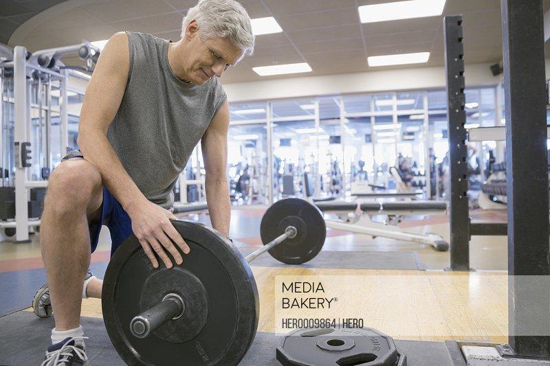 Man weight lifting at gym