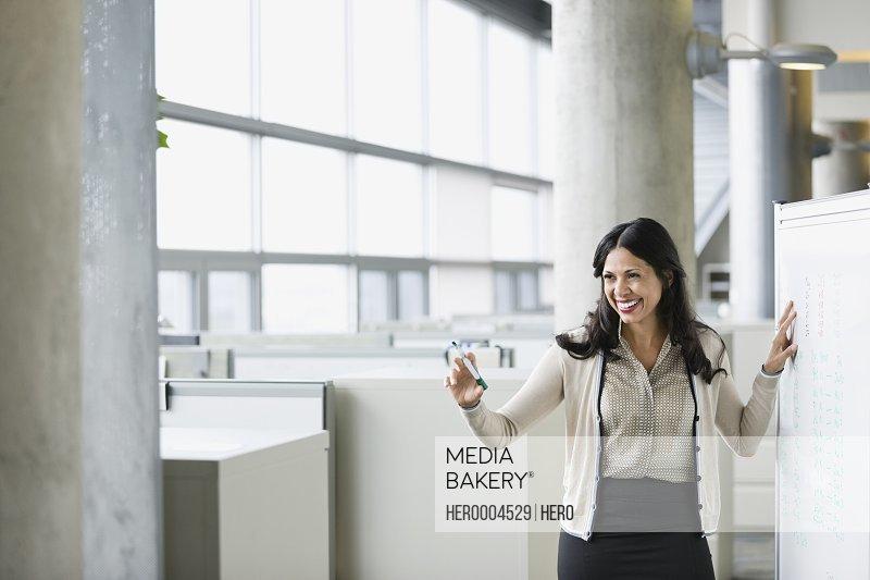 Smiling businesswoman using whiteboard