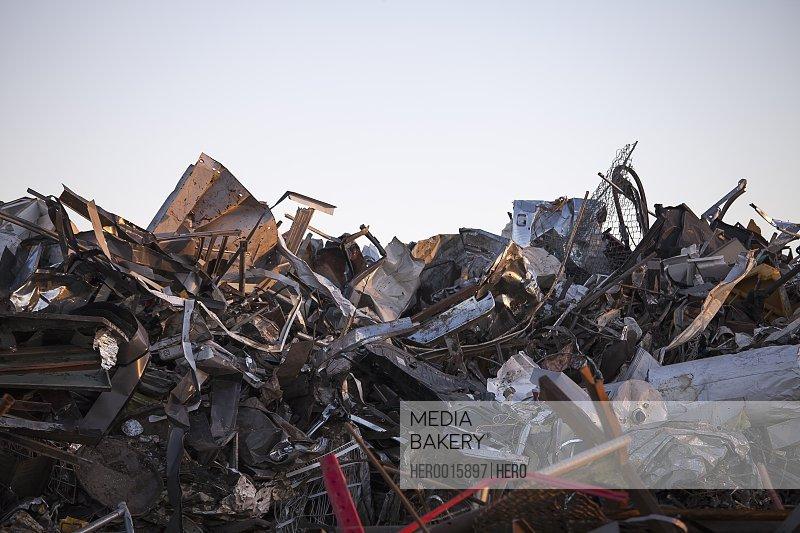 Heap of scrap metal at garbage dump