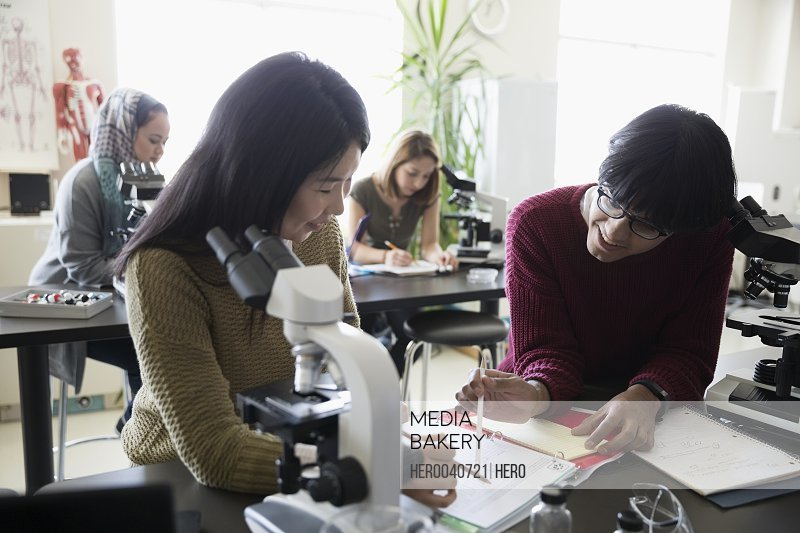 College students studying notes at microscope in science laboratory