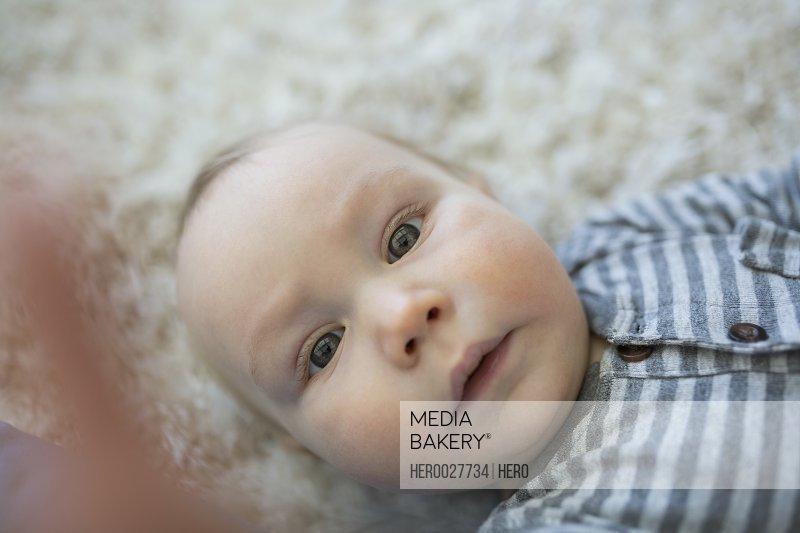 Portrait cute baby boy laying on rug