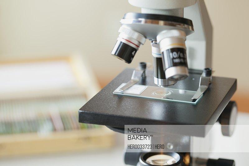 closeup of microscope and slide