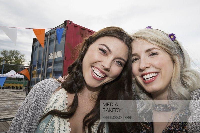 Portrait enthusiastic young women