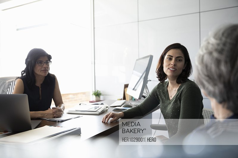Businesswoman talking to clients in office