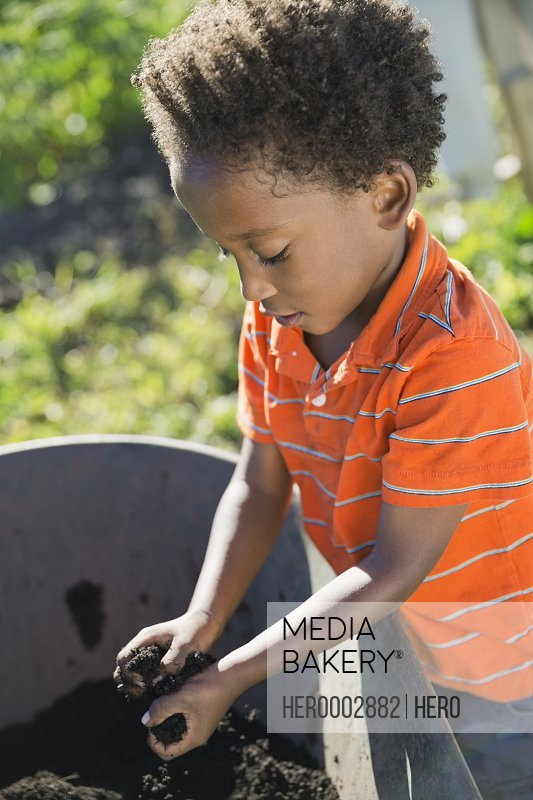 Little boy picking up garden dirt in wheelbarrow