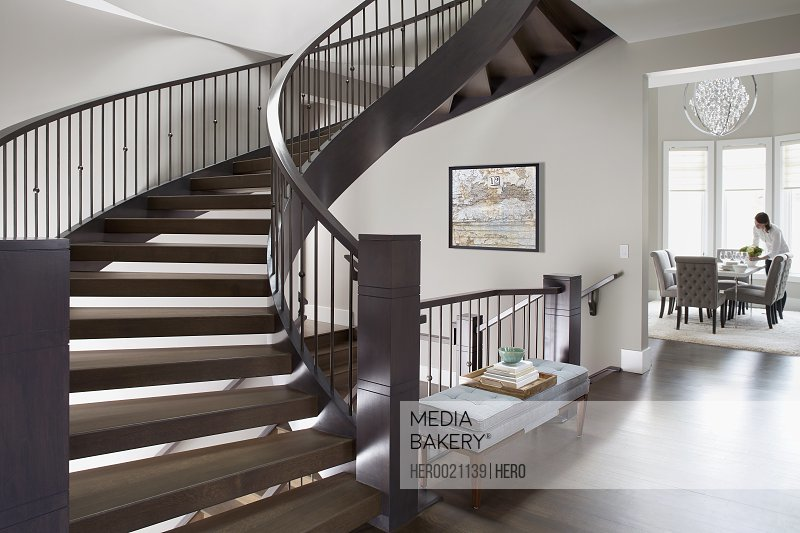 Spiral staircase in elegant home