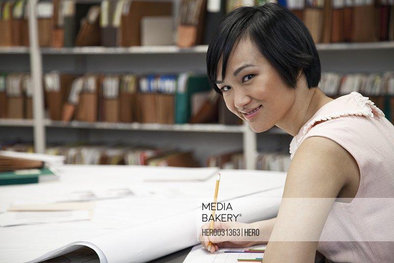 pretty asian office worker