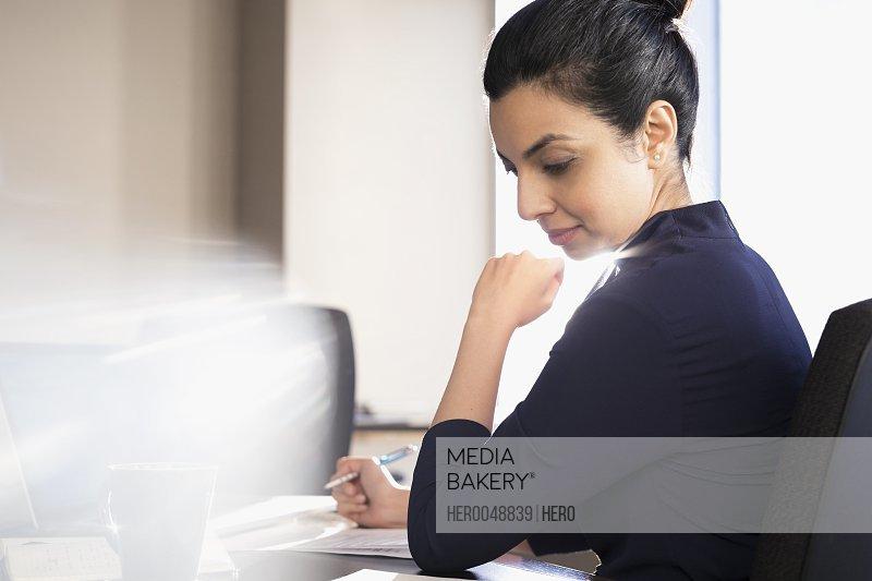 Focused female lawyer working