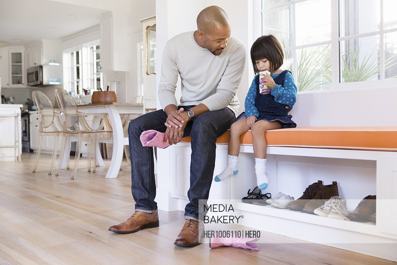 Brilliant Photo By Hero Images Father Holding Pink Cowboy Boots Next To Toddler Daughter Drinking Juice Box On Window Seat Pdpeps Interior Chair Design Pdpepsorg