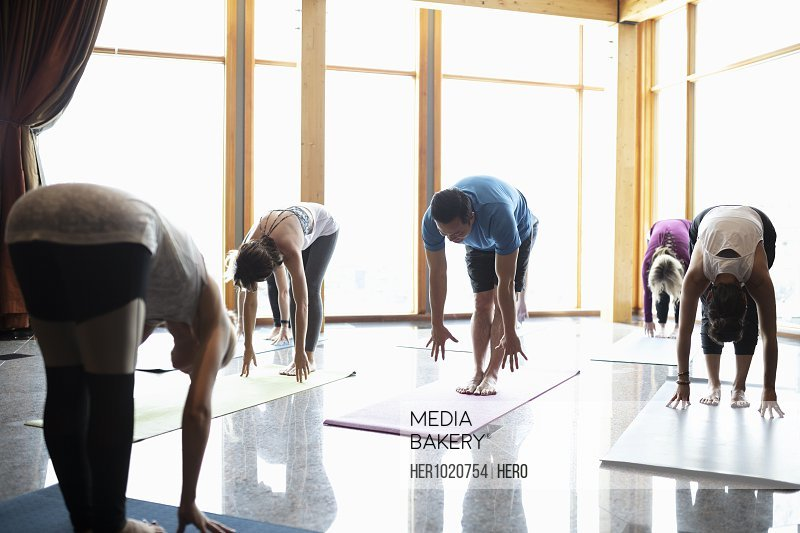 People practicing standing forward bend in yoga class studio